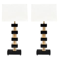 Murano Glass Black and Gold Lamps