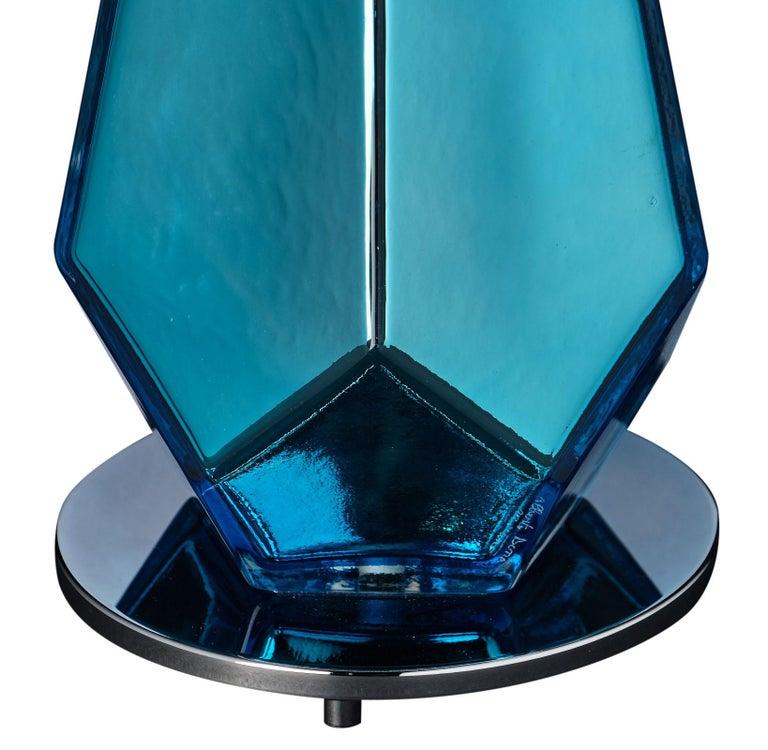 """Murano Glass Blue """"Specchiate"""" Lamps In Excellent Condition For Sale In Austin, TX"""