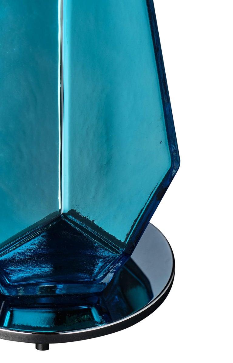 """Contemporary Murano Glass Blue """"Specchiate"""" Lamps For Sale"""