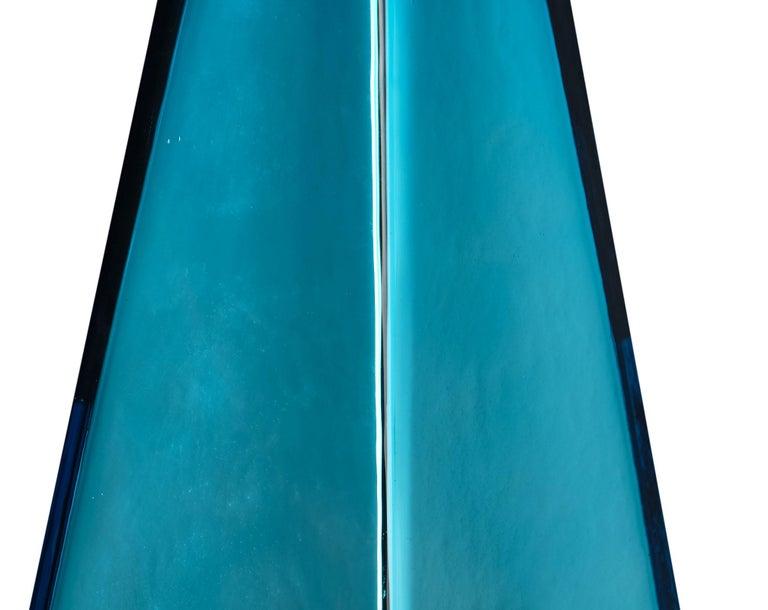 """Murano Glass Blue """"Specchiate"""" Lamps For Sale 1"""