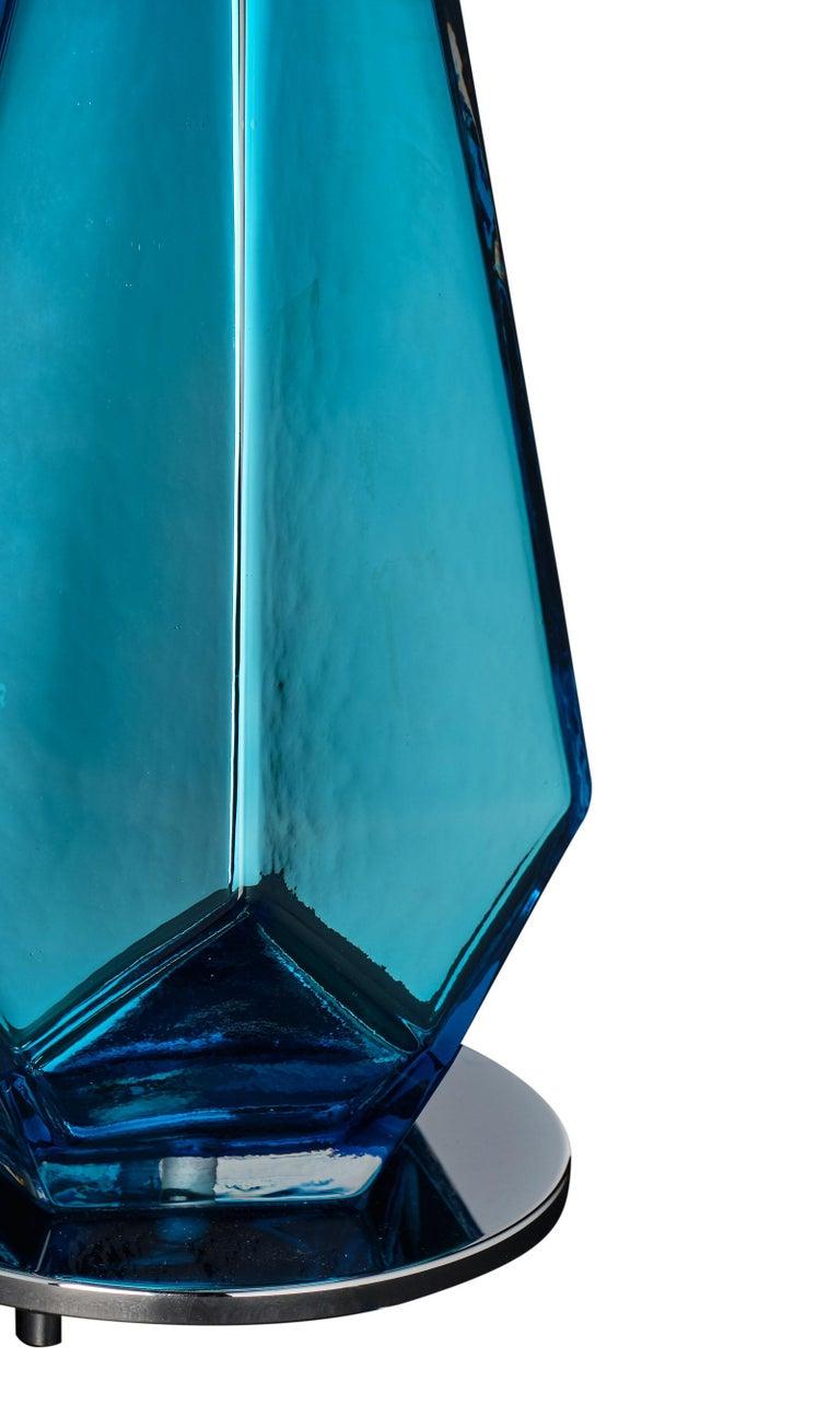 """Murano Glass Blue """"Specchiate"""" Lamps For Sale 3"""