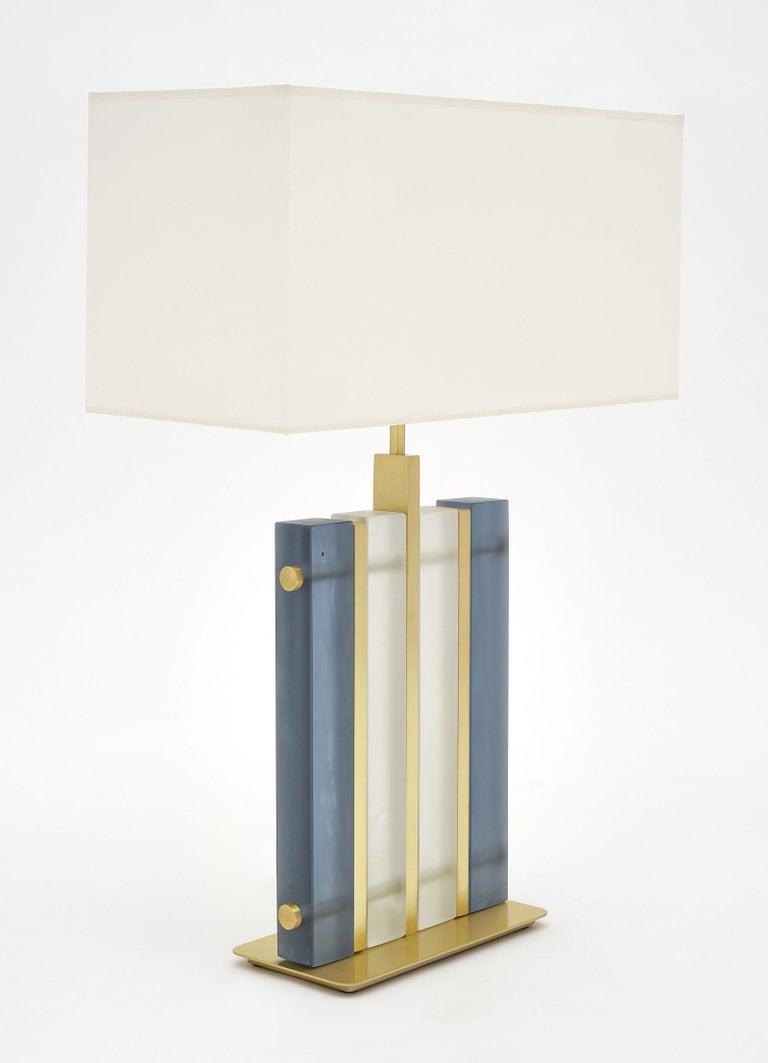 "Modern Murano Glass Blue ""Tormalina"" Slab Lamps For Sale"