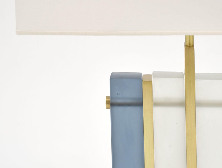 "Italian Murano Glass Blue ""Tormalina"" Slab Lamps For Sale"