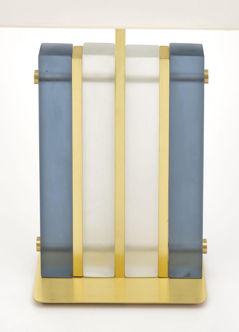 """Contemporary Murano Glass Blue """"Tormalina"""" Slab Lamps For Sale"""