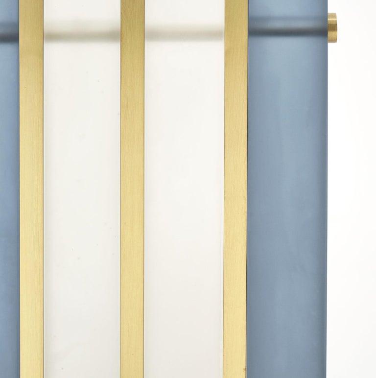 "Brass Murano Glass Blue ""Tormalina"" Slab Lamps For Sale"