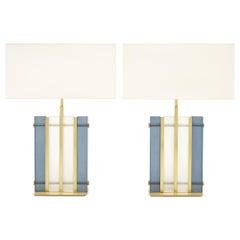 "Murano Glass Blue ""Tormalina"" Slab Lamps"