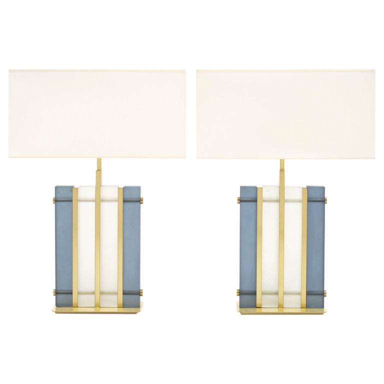 """Murano Glass Blue """"Tormalina"""" Slab Lamps For Sale"""