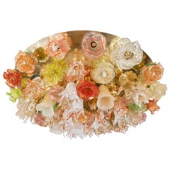 "Murano Glass ""Bouquet"" Flush Mount Fixture"