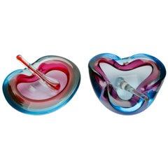 Murano Glass Bowl Attributed to Flavio Poli for Seguso D'arte Biomorphic Shaped