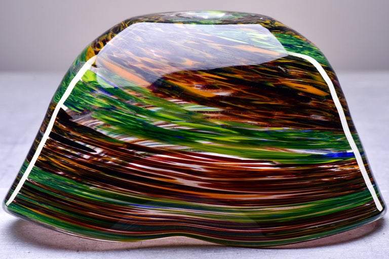 Murano Glass Bowl in Green and Earth Tones For Sale 4
