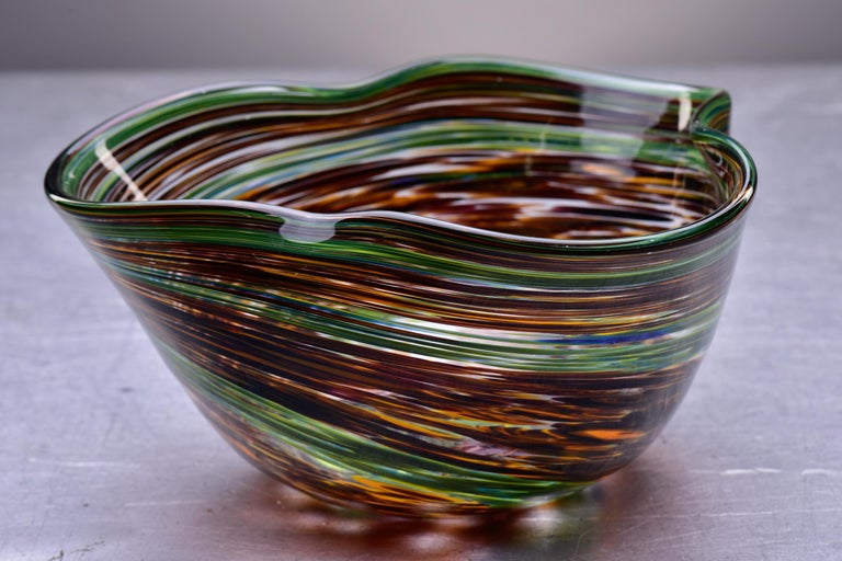 Modern Murano Glass Bowl in Green and Earth Tones For Sale