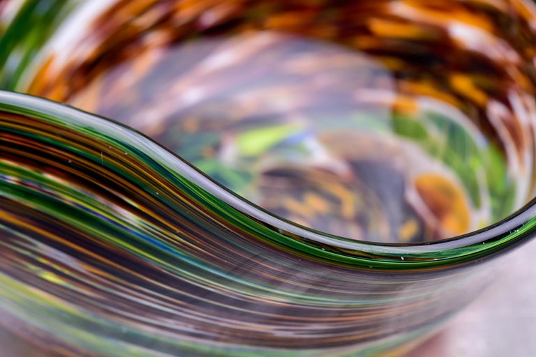 Murano Glass Bowl in Green and Earth Tones For Sale 2