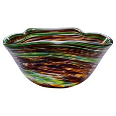 Murano Glass Bowl in Green and Earth Tones