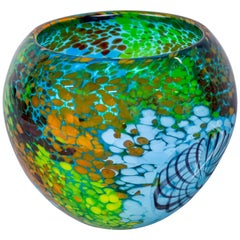 Murano Glass Bowl in Greens and Blues
