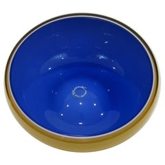 Murano Glass Bowl V. Nasson Italy, Blue and Yellow/Gold