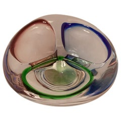 Murano Glass Bowl with Three Colors, Green, Blue and Lilac, Italy 1970s