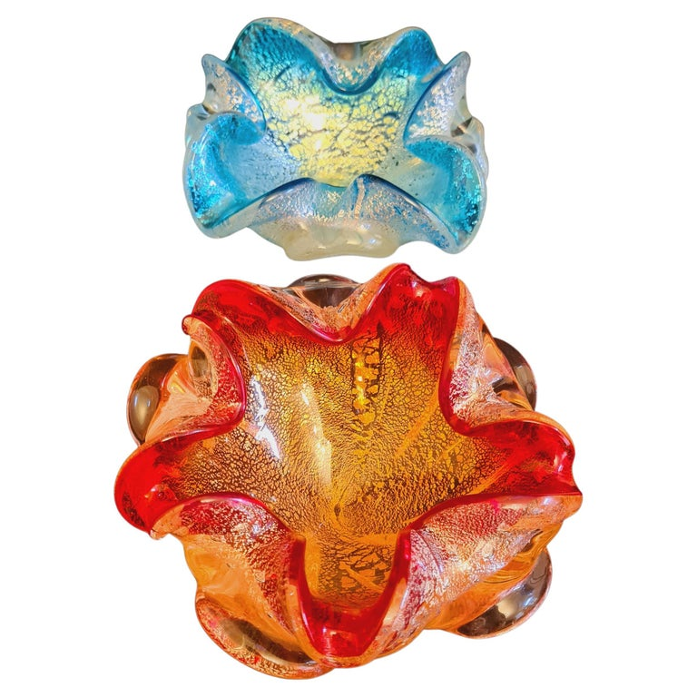 Murano Glass Bowls/Ashtrays with Gold and Silver Leaf For Sale