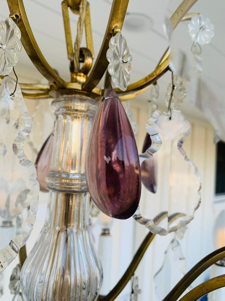 Murano Glass & Brass 8 Arm Chandelier For Sale 4