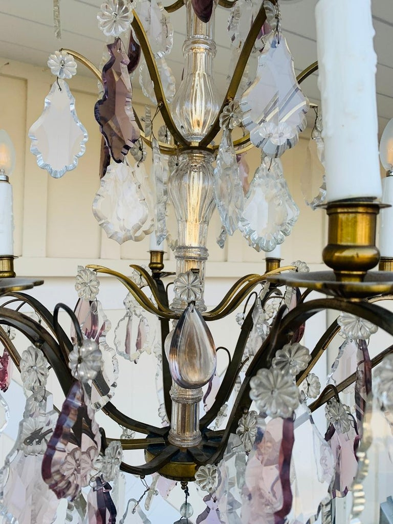 Murano Glass & Brass 8 Arm Chandelier For Sale 8
