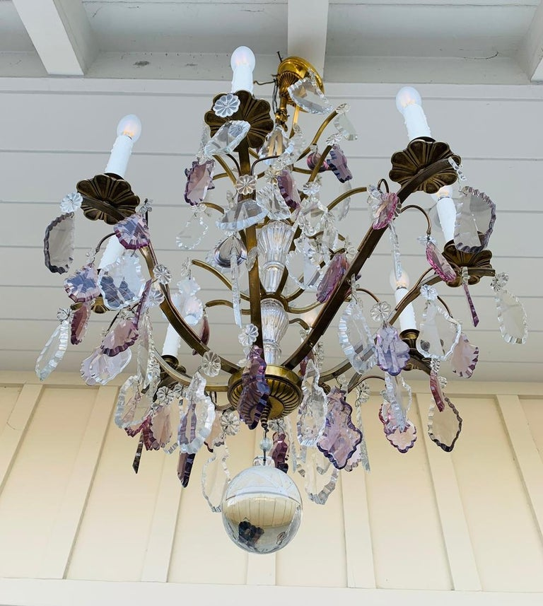 Mid-Century Modern Murano Glass & Brass 8 Arm Chandelier For Sale