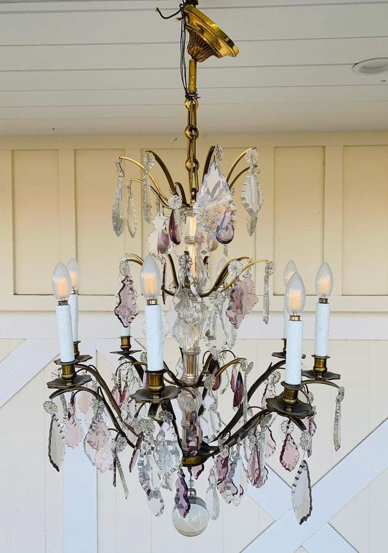 Mid-20th Century Murano Glass & Brass 8 Arm Chandelier For Sale