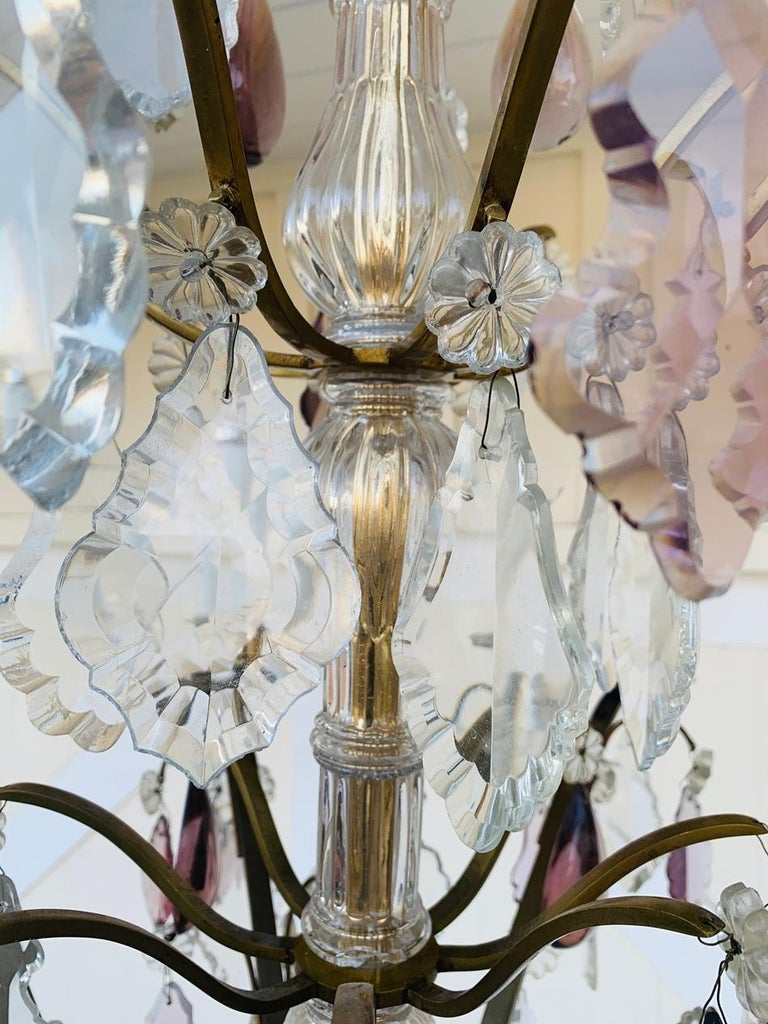 Murano Glass & Brass 8 Arm Chandelier For Sale 1