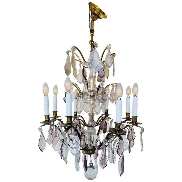 Murano Glass & Brass 8 Arm Chandelier For Sale