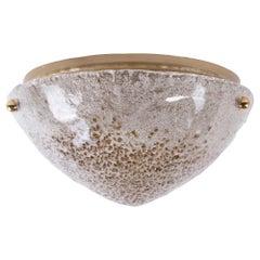 1960 Germany Kaiser Large Flush Mount Amber Murano Glass & Brass
