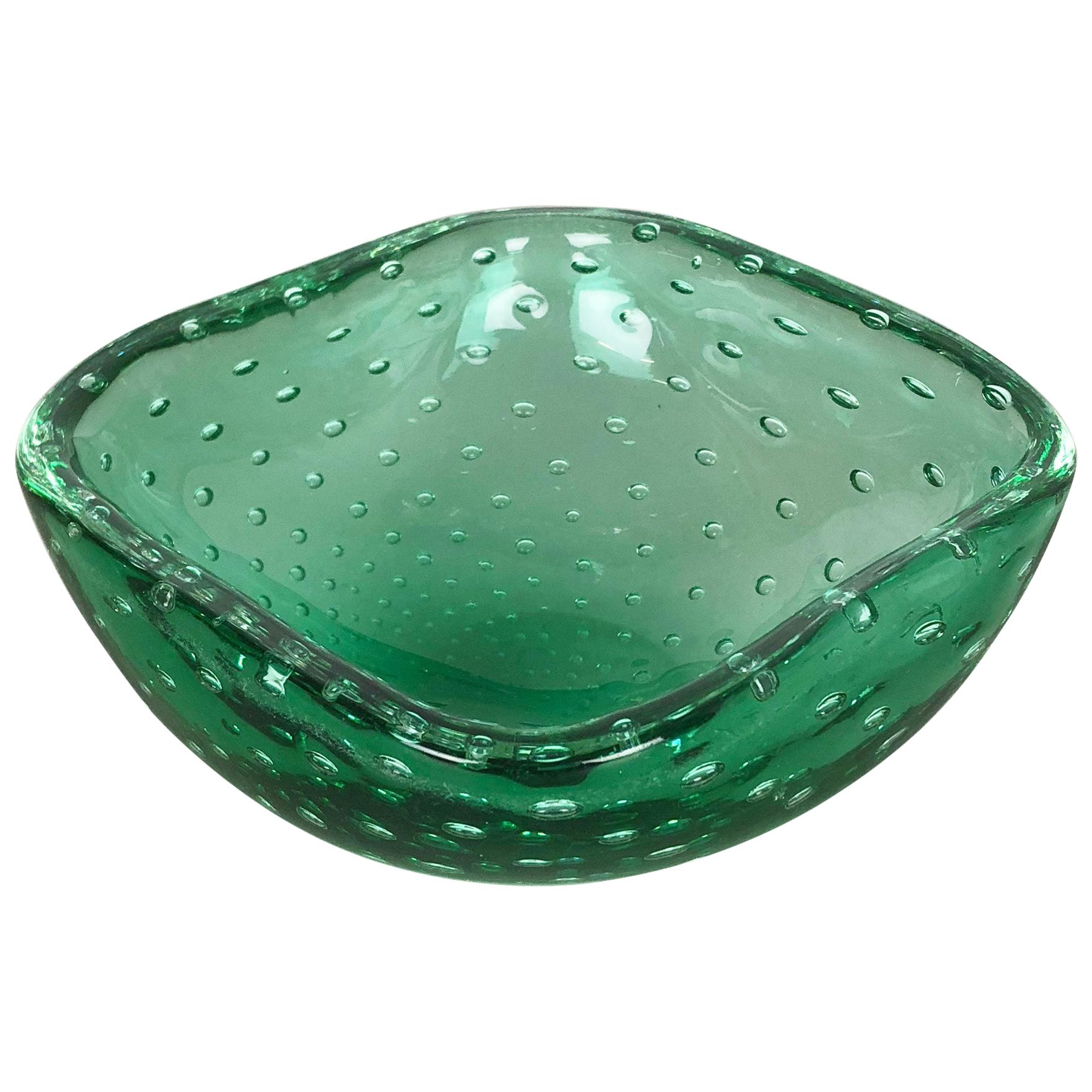 "Murano Glass Bullicante ""Green"" Bowl Element Shell Ashtray Murano, Italy, 1970s"