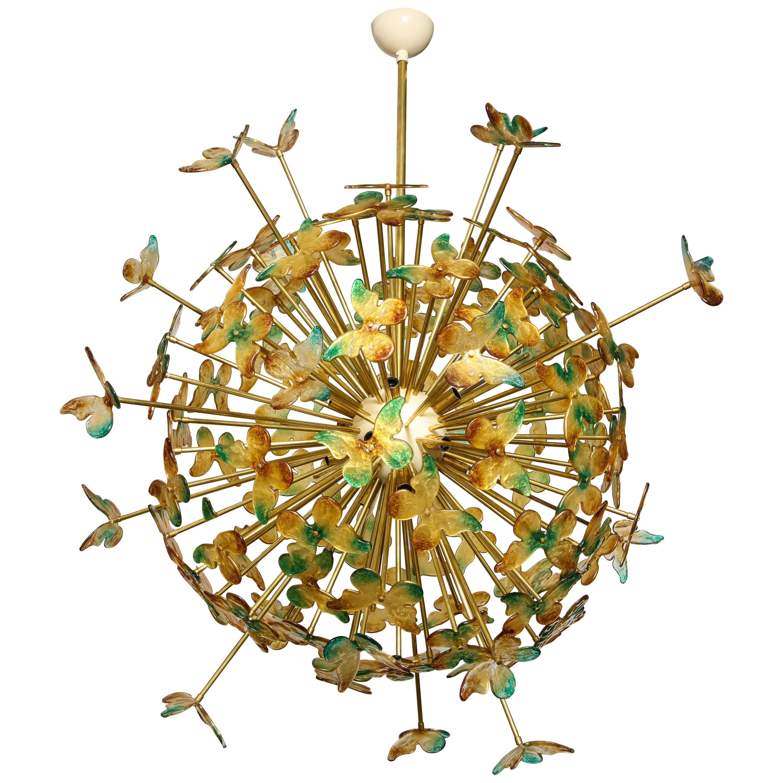 Green, Amber Murano Glass Butterfly Sputnik Chandelier