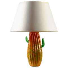 Murano Glass Cactus Table Lamp in Orange and Green