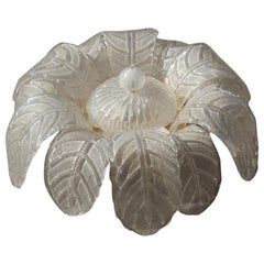 Murano Glass Ceiling Lamp 1970 a Large Flower Made in Italy