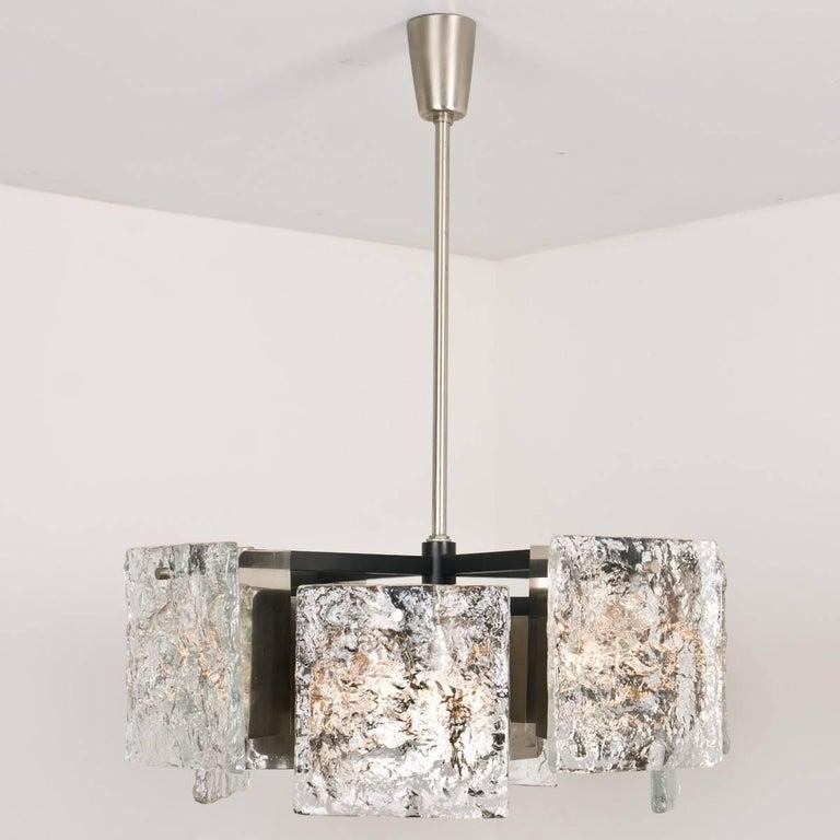 Steel Murano Glass Ceiling Light from Kalmar, 1960s For Sale