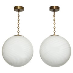 Murano Glass Ceiling Pendants, a Pair