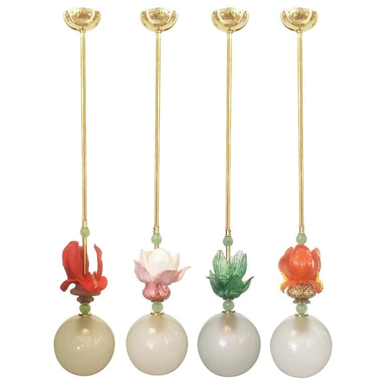 Murano Glass Ceiling Pendants, Set of Four