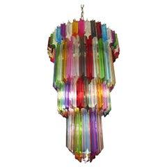 Murano Glass Chandelier, 111 Multi-Color Quadriedri