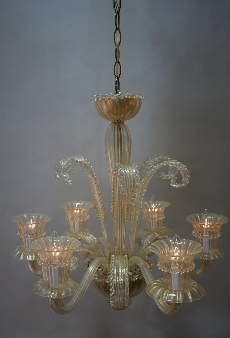 Murano Glass Chandelier by Barovier Toso For Sale 4