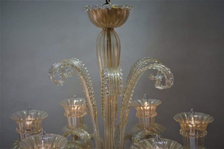Murano Glass Chandelier by Barovier Toso For Sale 6