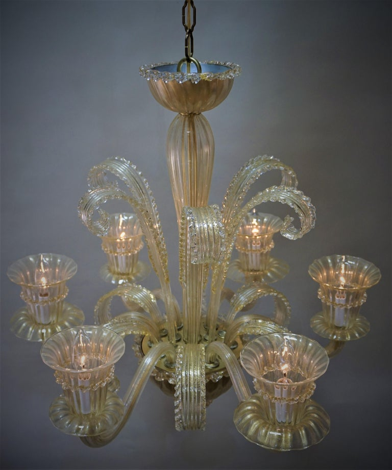 Murano Glass Chandelier by Barovier Toso For Sale 7