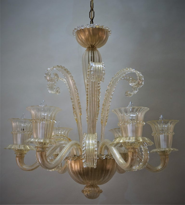 Murano Glass Chandelier by Barovier Toso For Sale 8