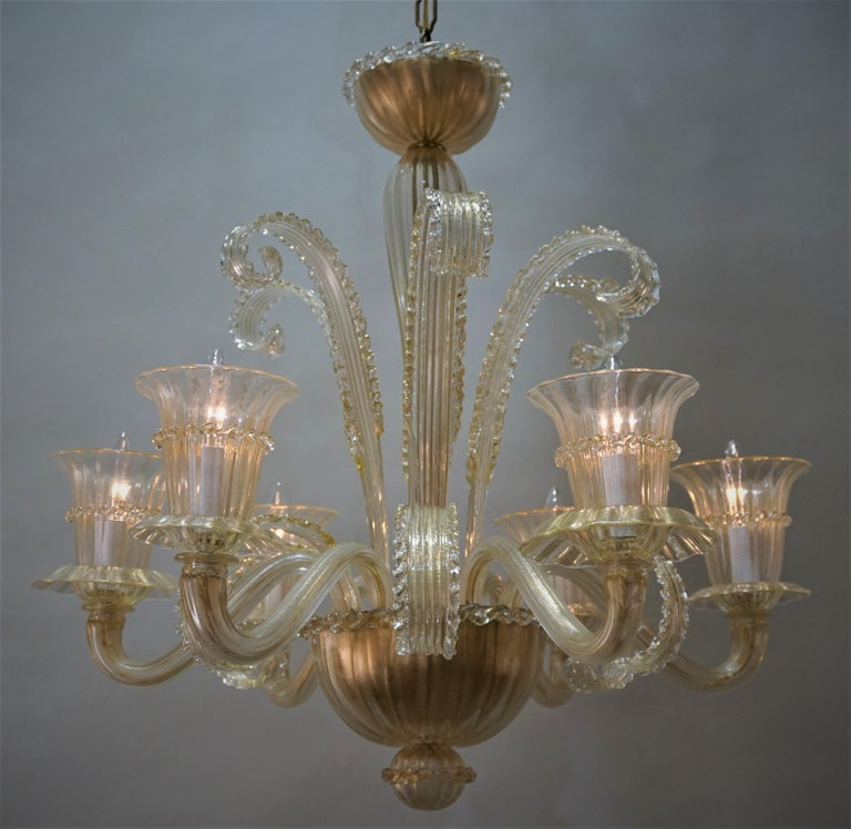 Italian Murano Glass Chandelier by Barovier Toso For Sale