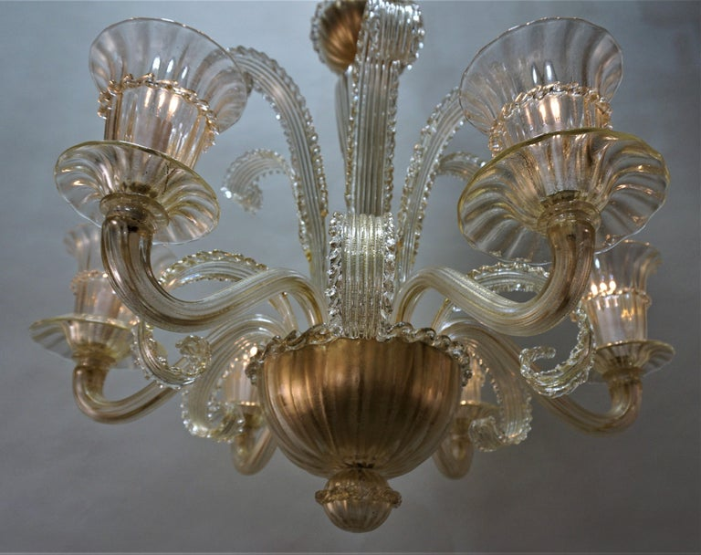 Mid-20th Century Murano Glass Chandelier by Barovier Toso For Sale