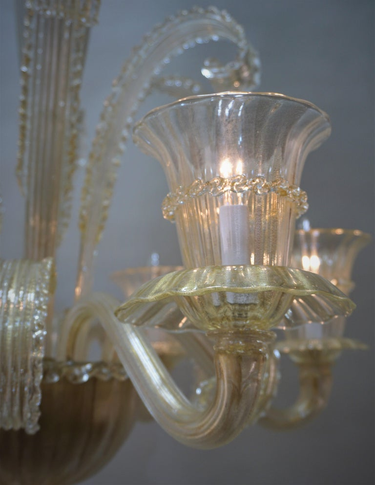 Blown Glass Murano Glass Chandelier by Barovier Toso For Sale