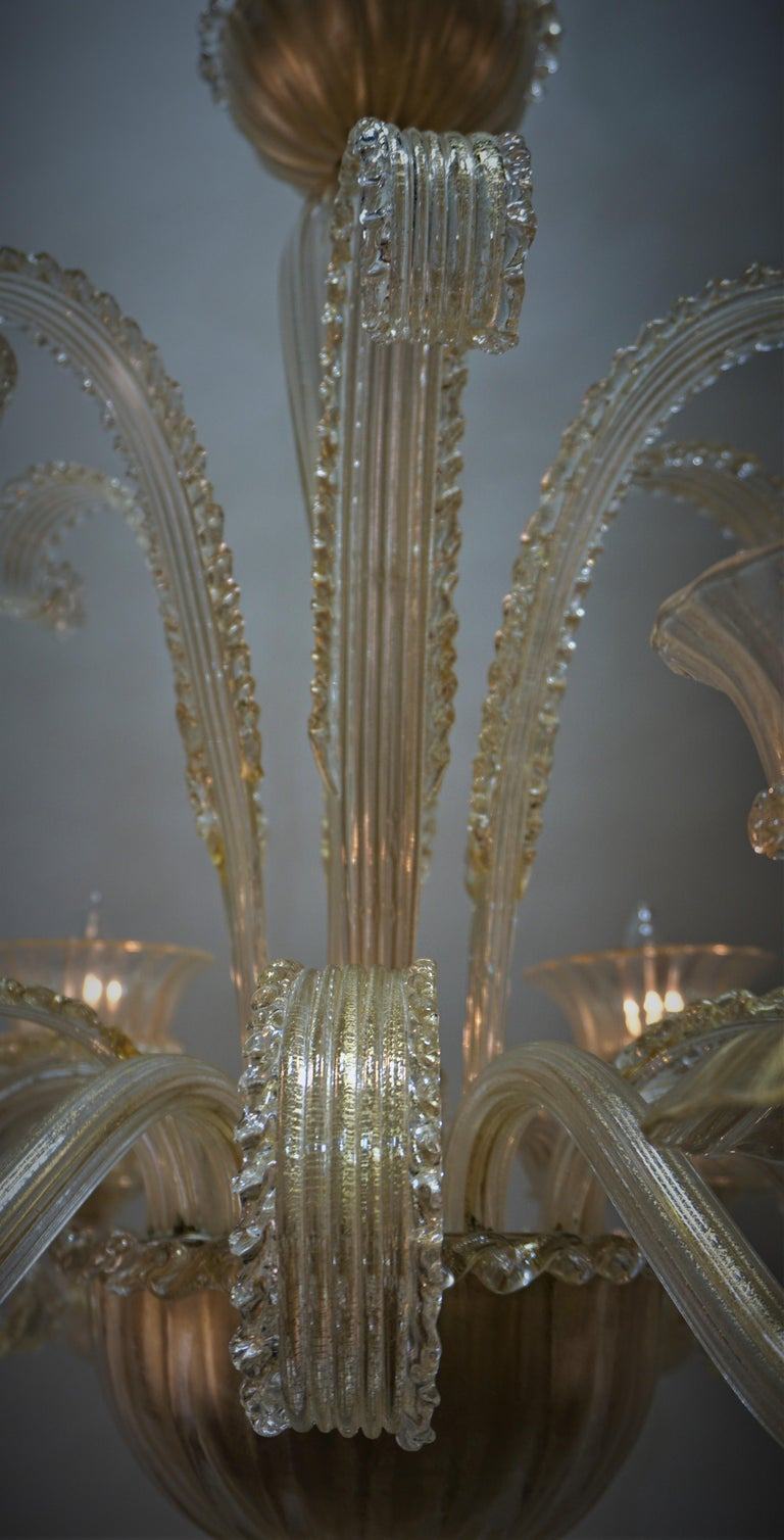 Murano Glass Chandelier by Barovier Toso For Sale 1