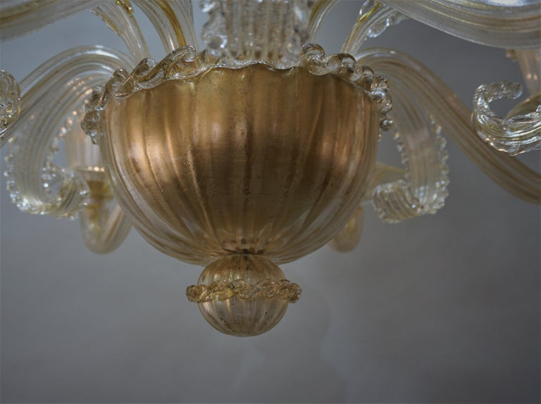 Murano Glass Chandelier by Barovier Toso For Sale 2