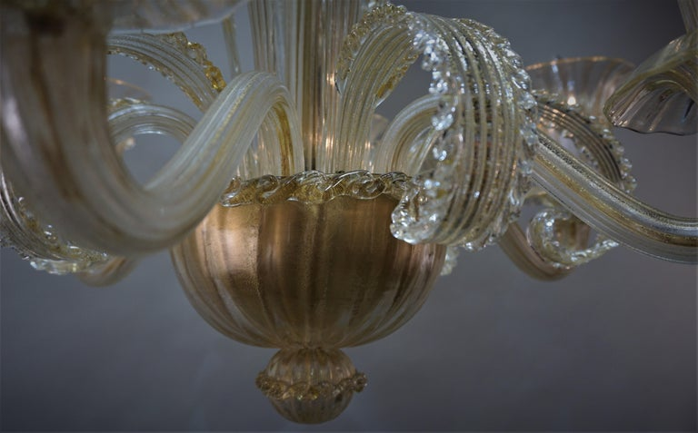 Murano Glass Chandelier by Barovier Toso For Sale 3