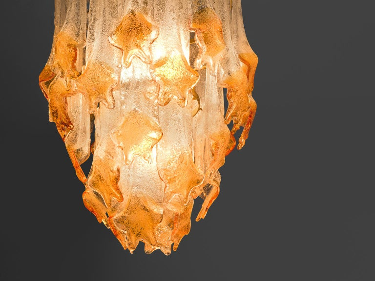 Mid-Century Modern Murano Glass Chandelier by Mazzega For Sale