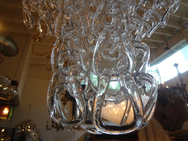 Mid-Century Modern Murano Glass Chandelier Inspired by Mangiarotti, Italy, 1960s For Sale