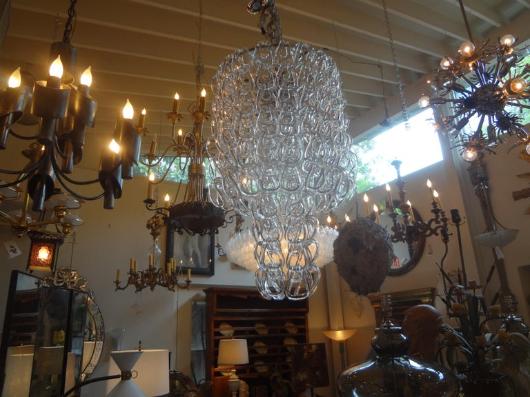 Italian Murano Glass Chandelier Inspired by Mangiarotti, Italy, 1960s For Sale