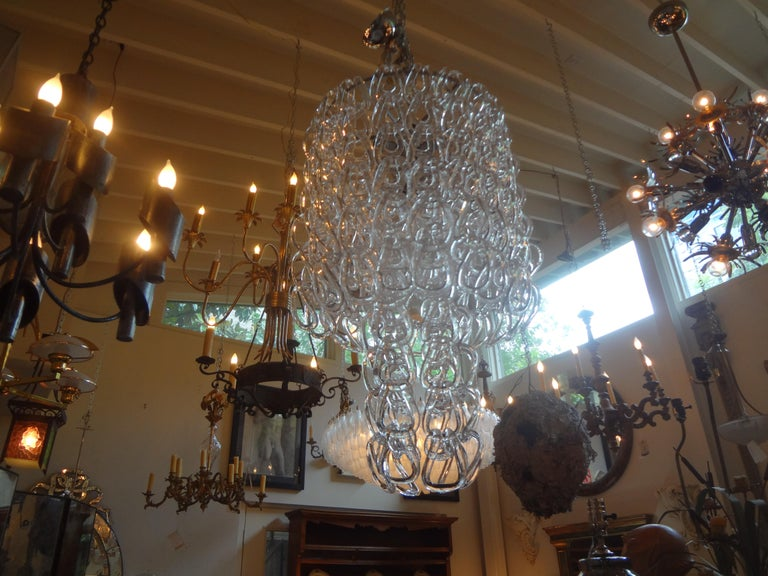 Murano Glass Chandelier Inspired by Mangiarotti, Italy, 1960s In Good Condition For Sale In Houston, TX